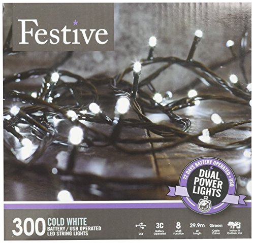 Festive Christmas String Lights, Battery Operated Timer LED, White, 300 bulbs