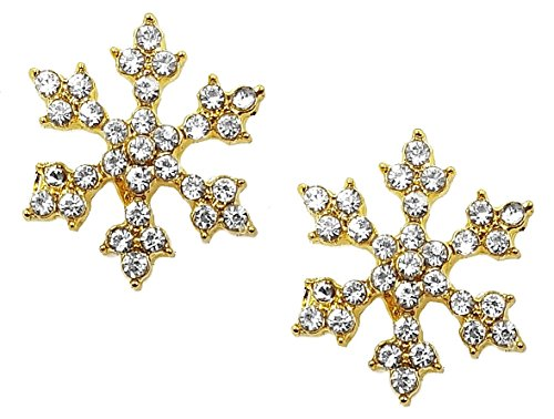 Sparkling Crystal Gold Tone Snowflake Stud Earrings Christmas Winter Bridal Fashion Jewelry for Women, Teens, Girls (Gold)