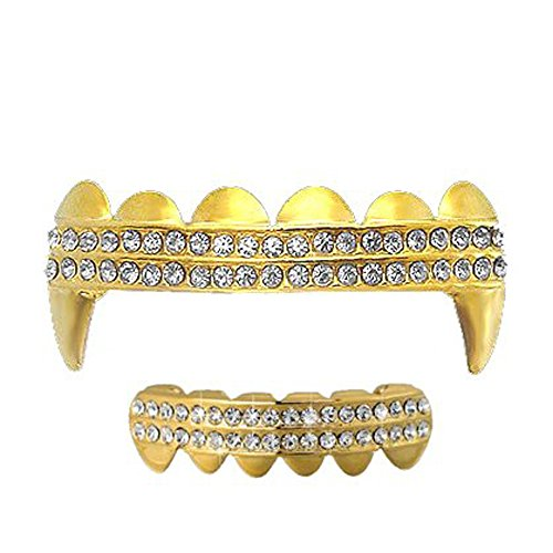 - Gold Clear 2 Row Iced Out Vampire Grillz Set Top & Bottom Hip Hop Bling Grillz