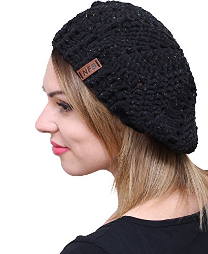 NFB Trendy Women Beret Chunky Beanie Hat Slouchy Beret Knitted Speckled Beanie (Black)