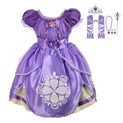 Lito Angels Girls' Princess Sofia The First Dress up Costume Cosplay Fancy Party Dress Outfit with Accessories Size 12-18 -