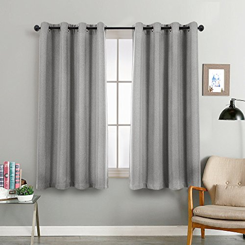 Grey Linen Curtains Bedroom Linen Textured Curtains Living Room Curtain 45 inch Length Moderate Blackout Curtains Room Darkening Window Panels 2 Panels Charcoal Gray (45 Length Curtains)