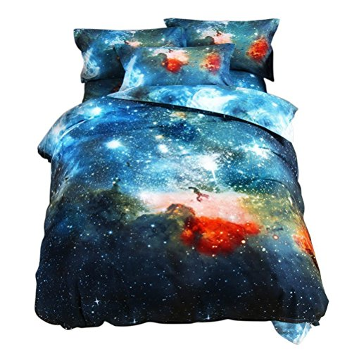 Ikakon 3 in1 3D Print Galaxy Floral Twin Bedding Sets- Duvet Cover, Outer Space Sheets with 1 Pillow Case (XK006 Green)