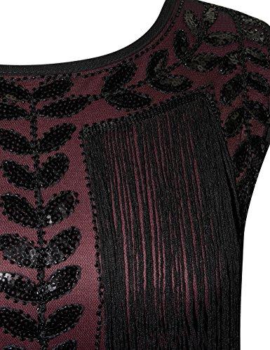 1920s Flapper Rouge Robe Gatsby Femmes Kayamiya Paillette Robe Frange Charleston De qZatxHw