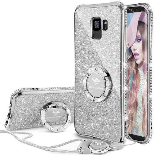 sale retailer 99765 f1d45 Galaxy S9 Case, Glitter Bling Diamond Rhinestone Bumper Cute Galaxy S9  Phone Case for Girls with Ring Kickstand Sparkly Protective Samsung Galaxy  S9 ...