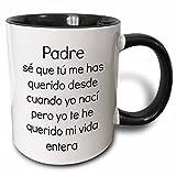 3dRose mug_224724_4 Padre Mi vida entra Two Tone Black Mug, 11 oz, Black/White