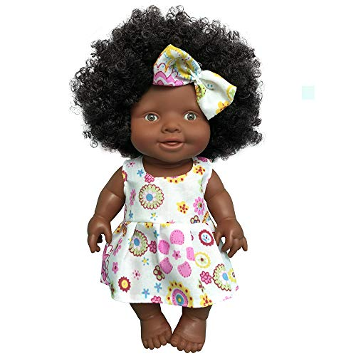Wenini 10 Inch Baby Movable Joint African Doll Toy Black Doll Toy for Kids ()