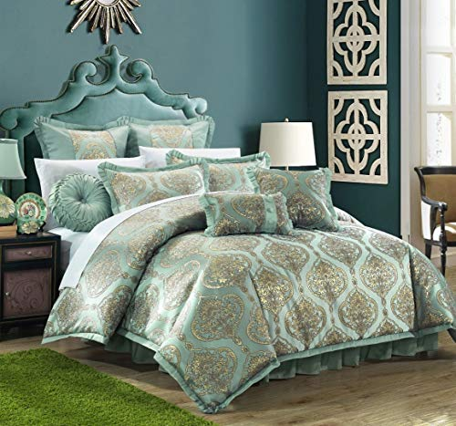 Chic Home 9 Piece Como Decorator Upholstery Quality Jacquard Motif Fabric Bedroom Comforter Set & Pillows Ensemble, Queen, Blue from Chic Home