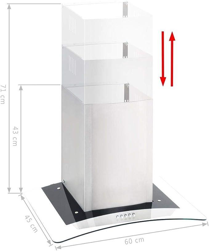 vidaXL Campana Extractora de Pared 60cm Acero Inoxidable 756m³/h LED Cocina: Amazon.es: Grandes electrodomésticos