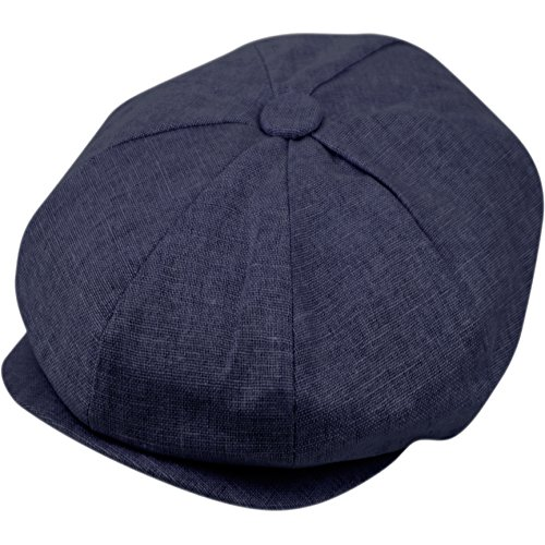 Epoch hats Men's Newsboy Linen Applejack Gatsby Collection Ivy Hats (Navy)