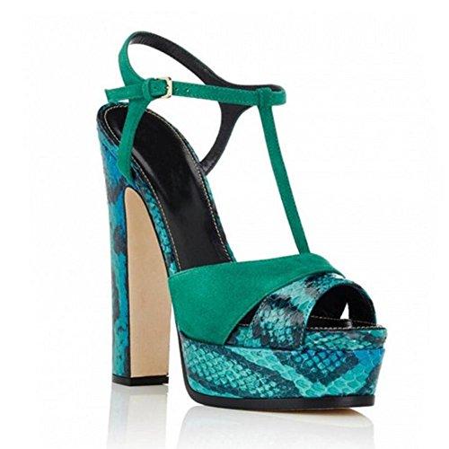 12cm L Impermeabilizan Tabla Serpentine Únicos La De Talones Zapatos yc Los Sandalias Green Con Las Mujeres Altos Frescos 4xza4