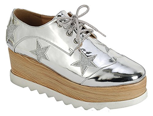 Best Silver Double Stacked Creeper Sneakers Patent Leather Platform Wedge Round Toe Lace up Fashion Essentials Oxford Office Church Back to School Uniform Shoe for Women Teen Girl (Size 10, Silver) by TravelNut
