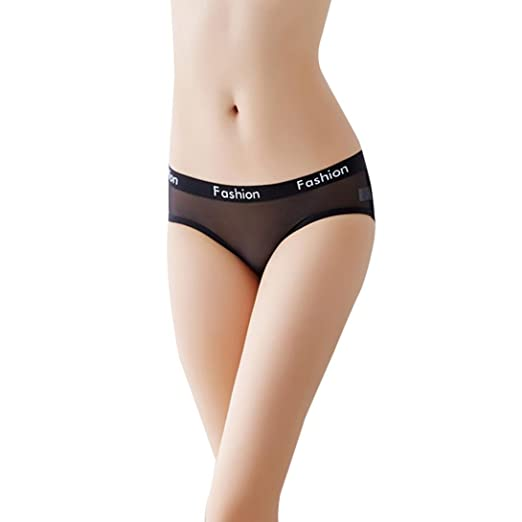 Elogoog Women s Breathable Cotton Lace Thong Panties Mini Low Waist Sexy Lingerie  Underwear (Black) 3a255d2f5