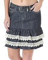 Wrangler Juniors Rock 47 Sits At Hip Ruffle Flare Denim Skirt