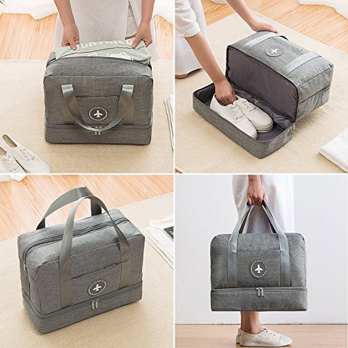 Waterproof Swimming Bag, XL Dry Wet Depart Beach Tote Bag, Portable Travel Beach Pouch Grey Shoes Organizer Suit for Outdoor Swimsuit Surfing Bathing by Noverlife (Image #1)