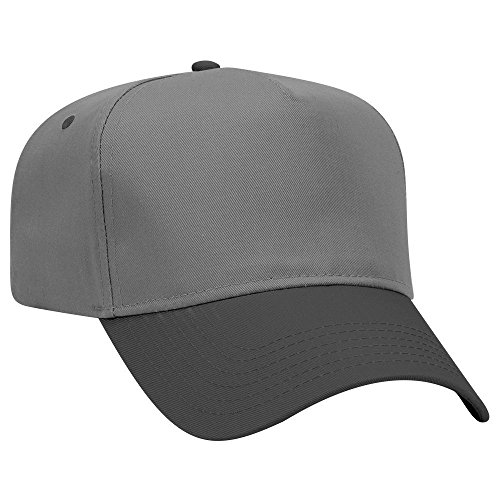 OTTO Cotton Blend Twill 5 Panel Pro Style Baseball Cap - Blk/Ch.Gry