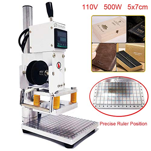Upgraded Hot Foil Stamping Machine 5x7cm 110V withFull Scale onTheBasePlate for PVC Leather PU Paper Logo Embossing 1.97