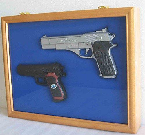 Oak Pistol Gun Display Shadow Box Case Cabinet With Lockable Glass Door by Display Case