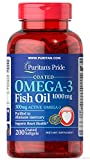 Puritan's Pride Omega-3 Fish Oil Coated 1000 mg (300 mg Active Omega-3)-200 Coated Softgels