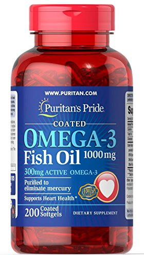 Puritan's Pride Omega-3 Fish Oil Coated 1000 mg (300 mg Active Omega-3)-200 Coated Softgels