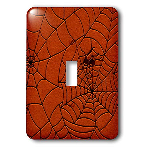 3dRose Sandy Mertens Halloween Designs - Two Spiders on a Web Drawing Pattern in Burnt Orange - Light Switch Covers - single toggle switch (lsp_156739_1) ()