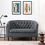 Modern Contemporary Urban Design Living Lounge Room Loveseat Sofa, Grey Gray, Fabric