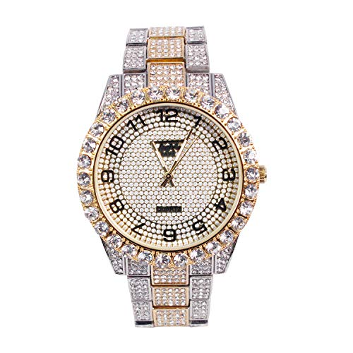 Men's Bling-ed Out ICY Bezel Watch with Simulated CZ Crystals - Two Tone