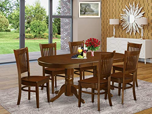 7 Pc Dining room set Table with Leaf and 6 Kitchen Dining Chairs