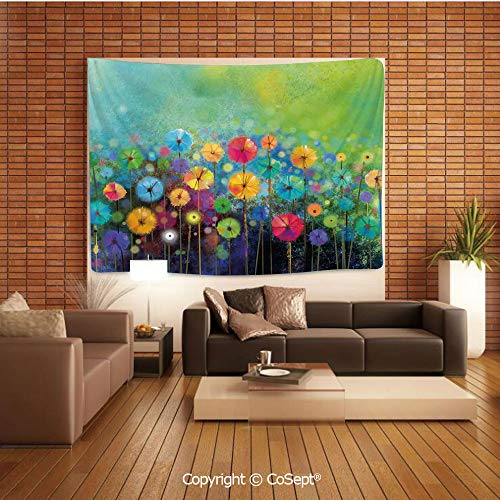 PUTIEN Polyester Fabric Tapestry,Dandelions Featured Garden Made with Brushstrokes Toned Landscape,Tapestry Art Print Tapestry for RoomMulti