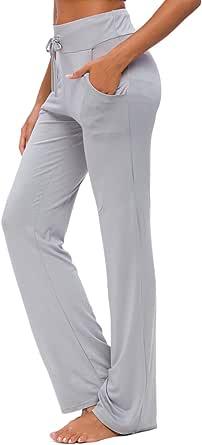 Pantalones De Yoga para Mujer con Bolsillos Cordón De Pierna Ancha Salón Recto Suelto Pantalones De Entrenamiento De Entrenamiento Pantalones De Chándal Casuales Activos