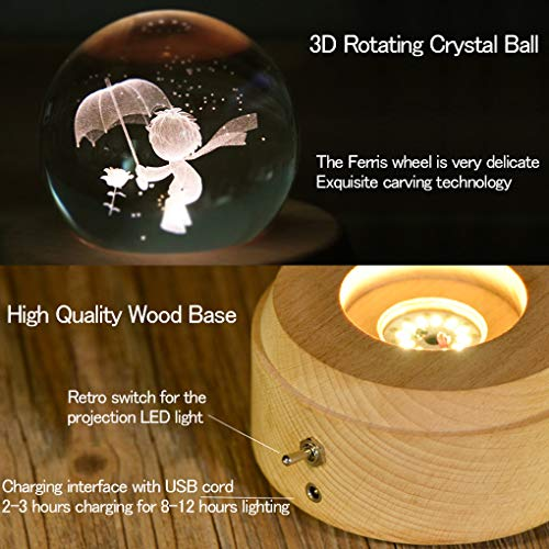 Amperer 3D Crystal Ball Music Box Little Prince Luminous Rotating Musical Box with Projection LED Light and Wood Base Best Gift for Birthday Christmas (A4 Little Prince) by Amperer (Image #3)