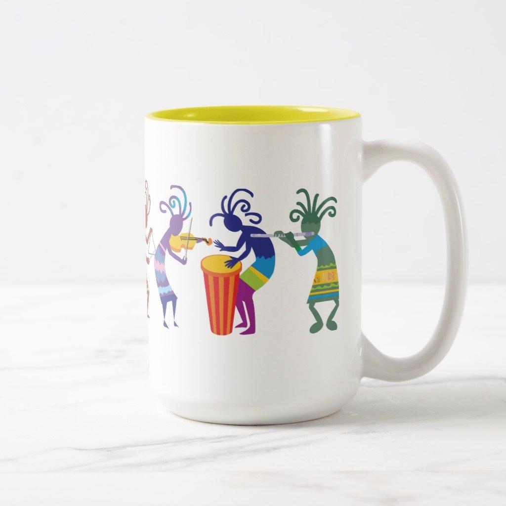 Zazzleココペリマグカップ 15 oz, Two-Tone Mug イエロー 00912685-fff2-e8c6-1a10-b021314b90b7 B0796HNNJ8  イエロー 15 oz, Two-Tone Mug
