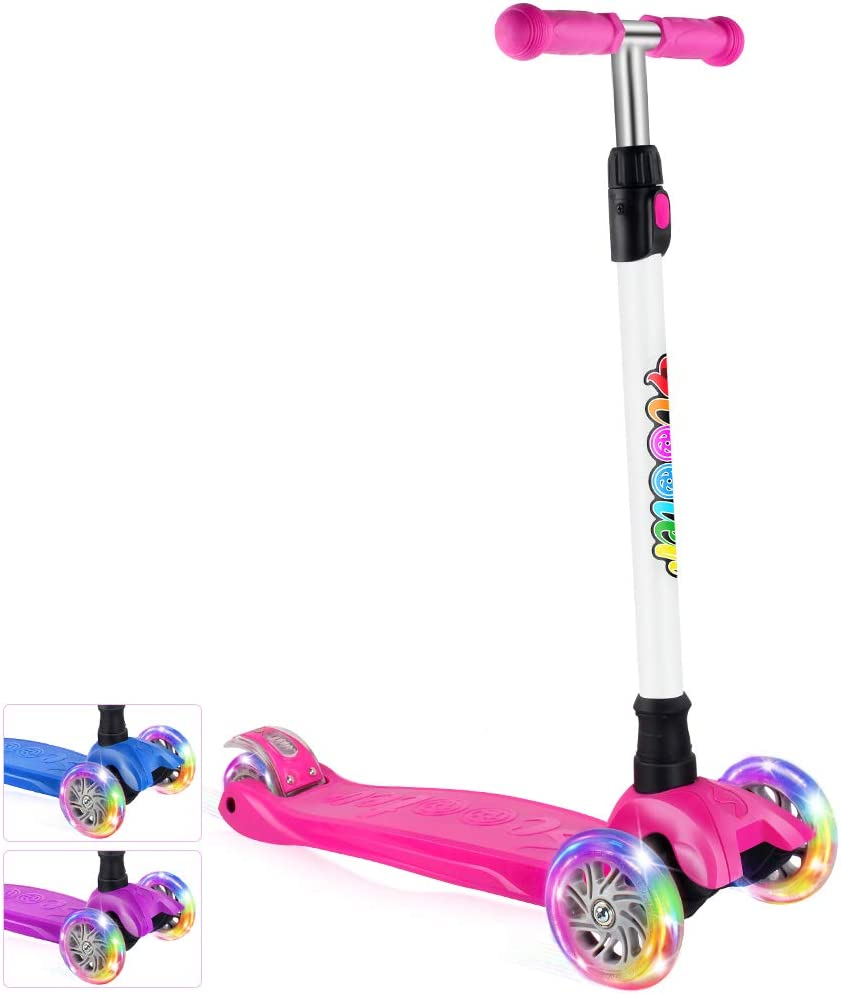 BELEEV Kick Scooter for Kids 3 Wheel Scooter for Toddlers Girls Boys, 4 Adjustable Height, Lean to Steer with PU LED Light Up Wheels for Children from 3 to 14 Years Old