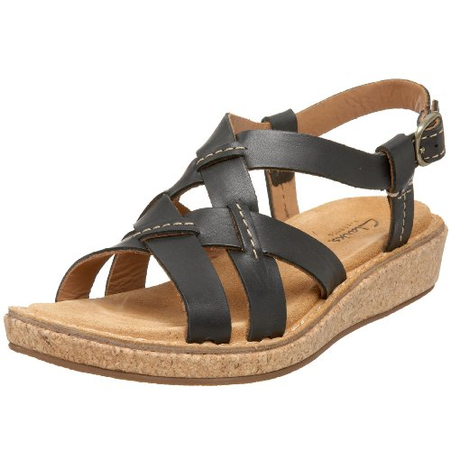 CLARKS Women's Eastham Woven Sandal,Black,11 M US