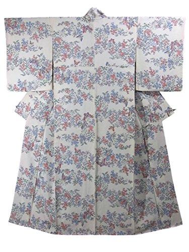 既婚コンテスト湾リサイクル 着物  小紋 野の花に蝶 裄67cm 身丈164cm 正絹 袷