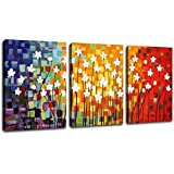 "Canvas Art Flowers Abstract Painting Contemporary Wall Art Pictures Prints White Flower Colorful Modern Artwork 12"" x 16"" x 3 Pieces Framed Ready to Hang for Office Kitchen Wall Decor Home Decorations"