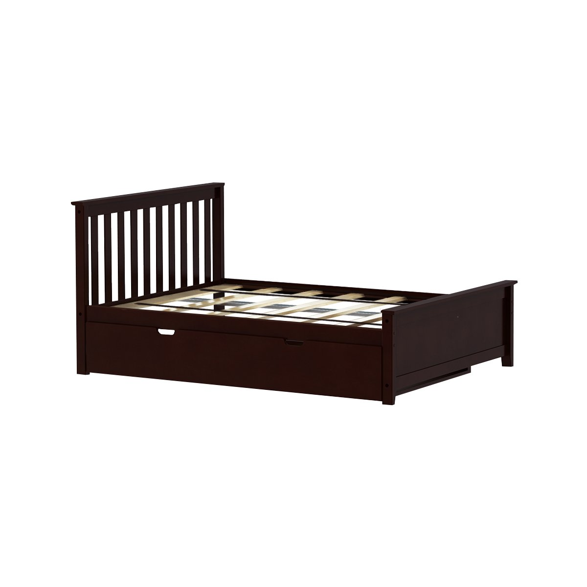 on sale 038c7 0aa89 Max & Lily Solid Wood Full-Size Bed with Trundle Bed, Espresso