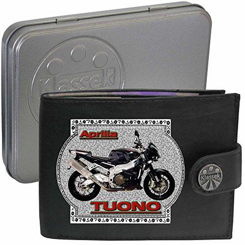 APRILIA TUONO 1000 Motorrad Zubehör Bike Klassek Herren Geldbörse Portemonnaie Brieftasche aus echtem Leder schwarz