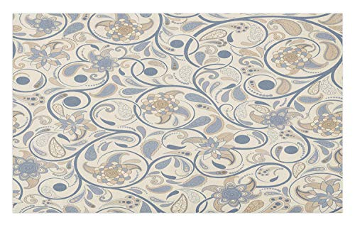 (Ambesonne Vintage Doormat, Oriental Scroll with Swirling Leaves with Eastern Design Inspirations, Decorative Polyester Floor Mat with Non-Skid Backing, 30 W X 18 L Inches, Beige Tan Slate Blue)
