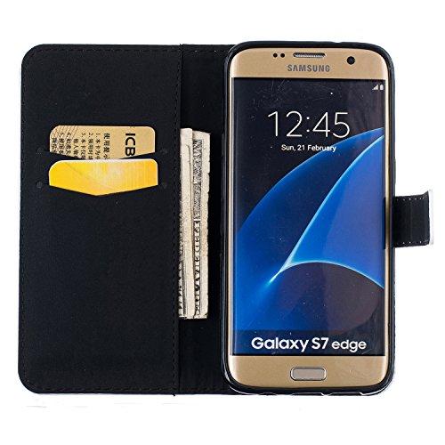 Carcasa para smartphone (PU y silicona, para smartphone Samsung Galaxy S7 Edge , diseño estampado, elemento conector para eliminar el polvo) negro 7 1
