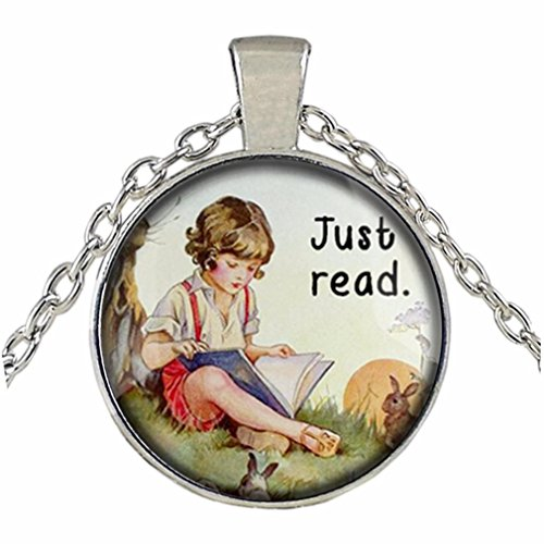 Botrong Book Lover Gifts '' So Many Books, So Little Time '' Clock Art Sweater Chain (E)