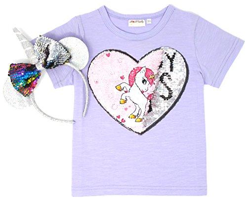 Price comparison product image Unicorn Flip Heart Sequin Girl's T-Shirt with Flip Sequin Unicorn Headband 4-12 Years (6-7, Purple+Headband)