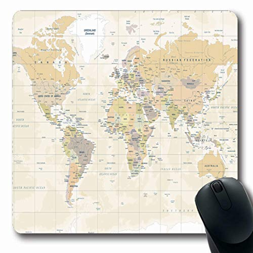 Ahawoso Mousepads for Computers Australia Beige Detail World Map Vintage High Detailed Continent Yellow Physical Europe Flat Worldmap Oblong Shape 7.9 x 9.5 Inches Non-Slip Oblong Gaming Mouse Pad (Best Gaming Pc Australia)