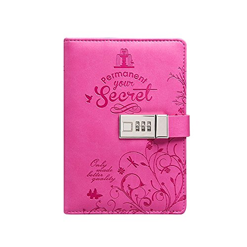Nainaiwu PU Leather Journal Travel Diary Writing Notebook with Combination Lock, Card Slots, Pen Holder,A5 Size Writing Notepad to Write in for Girls and Boys (Pink) by Nainaiwu