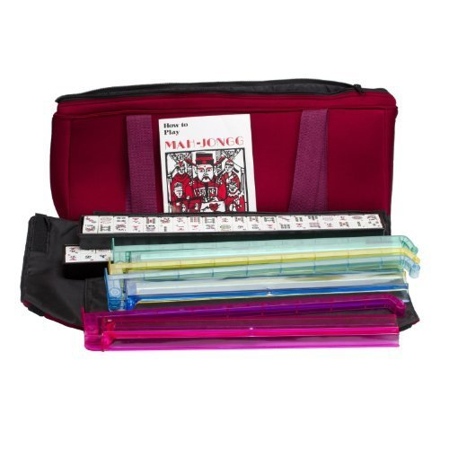 New 166 Tile Full Size American Mah Jongg Set Soft Burgundy Bag Case & 4 Color Pushers by Chh Games
