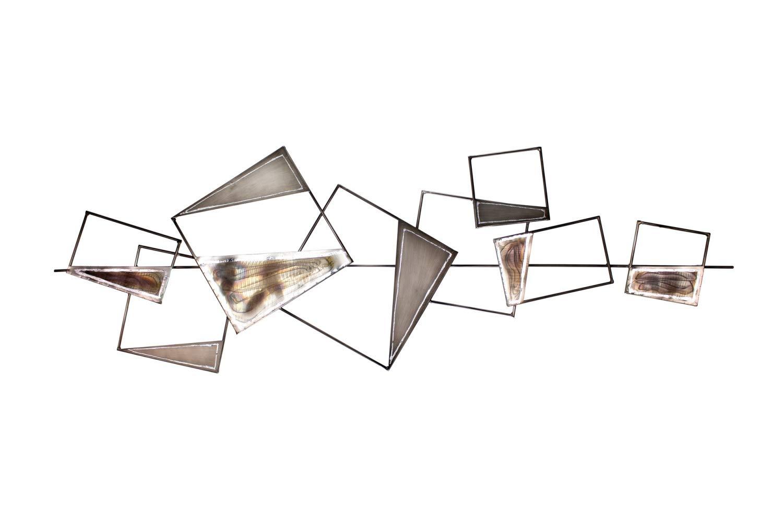 KunstLoft Extravagante Metall Wandskulptur 'Stabilität' 150x50x6cm | Design Wanddeko XXL handgefertigt | Luxus Metallbild Wandrelief | Abstrakt Formen Filigran Grau Schwarz | Wandbild modern