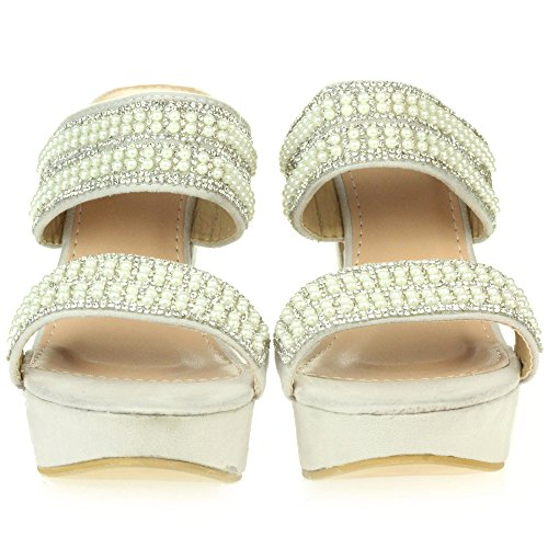 AARZ LONDON Womens Ladies Diamante Evening Party Prom Platform Slip On High Heel Sandals Shoes Size Silver IRWf6hp2hF