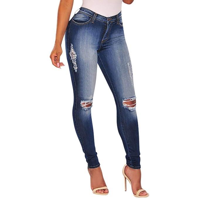 be4f7209ecba5 FAMILIZO Vaqueros Rotos Mujer Vaqueros Mujer Tallas Grandes Vaqueros Altos  Ajustados Pantalones Tejanos Largos Mujer Anchos Casual straight Skinny  High ...