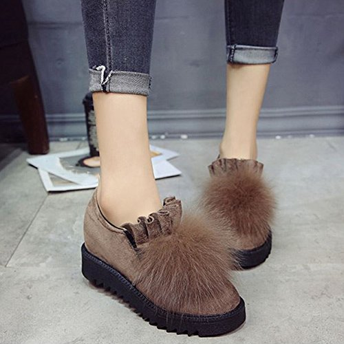 T-july Womens Winter Warm Fur Slip On Enhanced Flats Mocassini Classici Comfort Scarpe Cammello