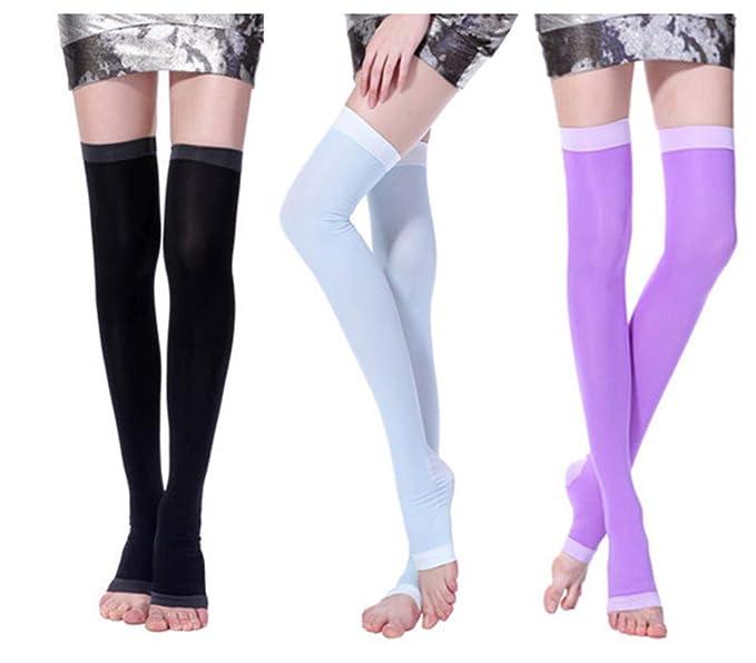 370b36b5a00 Amazon.com  Japan Wearing Slim Compression Socks Walk Medical lymph long  Leg Warmer 3-pack  Clothing